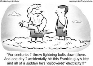 Cartoon illustrating outsource content from the gods